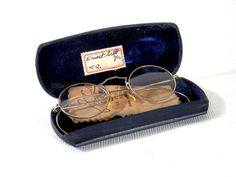 Edwardian Round Wire Frame Eye Glasses 12K Gold by bigbangzero, $95.00