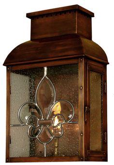 Versailles copper lantern with Fluer de Leis glass panel