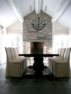 Dining room table, fire place