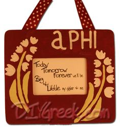 ALPHA PHI  paint this frame with stencils and supplies from diygreek.com. Check out this great   website for lots of sorority craft ideas and supplies.  . #DIY #greek #sorority #alpha #phi #sister #little #craft #idea #handmade