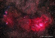 "Lagoon Nebula. (Photo: Jerry Lodriguss) A stellar nursery in the constellation Sagittarius, the perfect venue for celestial sailing. It was discovered by French astronomer Guillaume Le Gentil in 1747. ©Mona Evans, ""Night Sky Olympics"" http://www.bellaonline.com/articles/art41582.asp"