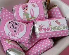 Printable Candy Bar Wrappers Think Pink October Breast Cancer Awareness Month - Mini Chocolate Bar Pink Ribbon Event