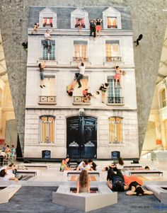 Currently on show in Paris (at Le 104) By Leandro Erlich, a giant mirror reflects a full scale house model, which gallery visitors can climb on. Via Lonely Planet magazine.
