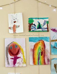 Sun Hats & Wellie Boots: DIY Art Gallery - A Simple Way to Display Children's Art