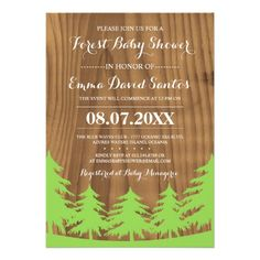 Forest Baby Shower Invites f you are having your event outdoors, then consider embracing this perfect forest theme!  These lovely baby shower invitations feature a forest and landscape in green over a faux wood grain background in dark brown.