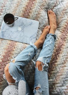 ripped jeans on missoni #planetblue
