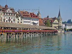 Bridge in downtown Luzern, Switzerland.