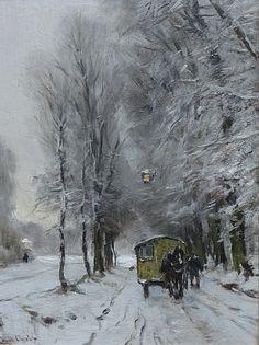 Kar met paard in een sneeuwlandschap, Louis Apol. Dutch (1850 - 1936). a man with a past