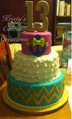 ruffl, cake idea, glitter birthday cake, anchor birthday cakes, chocolate cakes, 13th birthday cakes for girls, chevron cakes