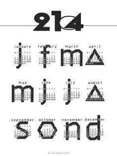 typographi calendar, graphic, calendar giveaway, free printabl, 2014 calendar, calendar free
