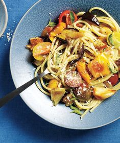 Get the recipe for Roasted Summer Vegetable Pasta .