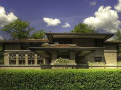 """The Meyer May House is a Frank Lloyd Wright-designed house in the Heritage Hill Historic District of Grand Rapids, Michigan, in the United States. It was built in 1908-09, and is located at 450 Madison Avenue SE. It is considered a fine example of Wright's Prairie School era, and """"Michigan's Prairie masterpiece""""."""