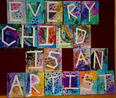 Multi-media art idea: crayons, watercolour resist, and then print-making with paint over taped letters on individual canvasses.  Only 20 letters in this quote, so would have to expand in some way for one per student.