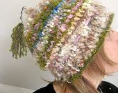 rustic, soft and warm handknit hat - woodland moss maiden