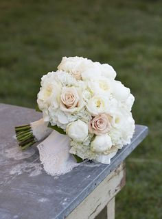 perfectly classic bouquet of roses, peonies, and hydrangea