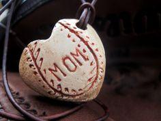 Baseball Mom Necklace Heart Pendant Hand by MyBarefootStudio, $18.00