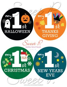My Baby's First Holiday Stickers: Set of 4 Halloween, Thanksgiving, Christmas and New Years on Etsy, $6.00