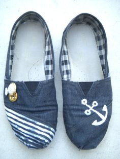 Navy Custom TOMS with Anchor and Vintage Buttons #Nautical #Custom #TOMS #Shoes #Navy #Anchor www.etsy.com/shop/ArtsySandra