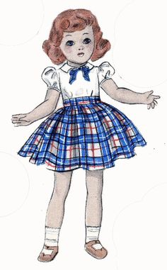 Butterick 5969 Doll Clothes pattern for 19 inch Toni and Ideal Doll. A 1940s pattern.