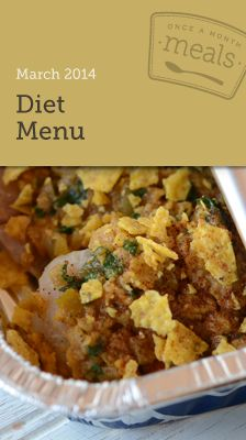 Diet March Menu - Cook a month's worth of meals in one day. Includes nutritional info (WW Plus Points), grocery list, instructions, and printable labels.