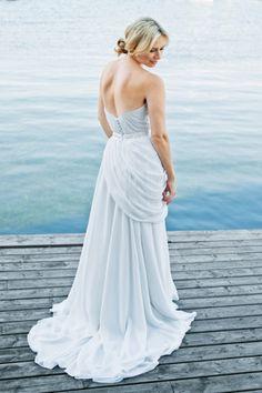 Pale blue wedding gown