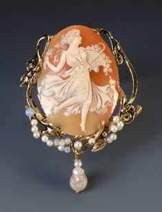 """14k gold antique """"Muse"""" cameo, opals, and pearls."""