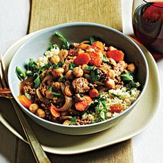 Moroccan-Style Lamb and Chickpeas   MyRecipes.com I use beef instead of lamb, but so good.  I make a regular Couscous or Quinoa.  It's a favorite