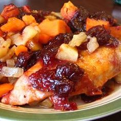 "Winter Chicken Bake | ""This is an easy recipe that is warm, hearty, healthy, and colorful. The tartness of the cranberries compliments the sweetness of the barbecue sauce and the mellow sweet potatoes. Homemade barbecue sauce is what I used, but your favorite barbecue sauce will work too."" chicken recip"