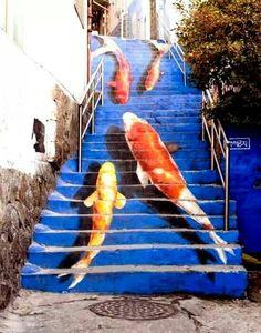 Koi street art stairs in Seoul