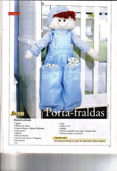 ARTESANATO FOFO: De pano - Porta Fraldas para quarto de menino