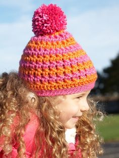 Free Pattern - Add a pop of color to kids' winter wardrobes with this bright striped crochet hat!