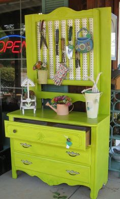 dresser turned potting shed