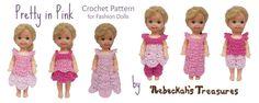 Pretty in Pink  for Children Fashion Dolls  - Free Crochet Pattern