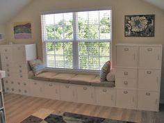 window benches, scrapbook room storage, officecraft room, craftroom, cube, window seats, office crafts, office/craft room, craft rooms