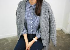 gingham, fashion, winter, style, button, knit sweaters, outfit, chunky knits, shirt