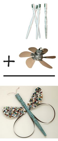 Dragonflies and Butterflies made from recycled table legs and fan blades