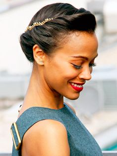 french roll hairstyle, hair weave hairstyles, red carpet hairstyles, beauti hairstyl, zoe saldana, beauti inspir, special occasion hairstyles, hair french roll, best wedding hairstyles