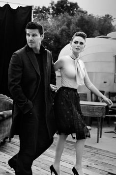 David Boreanaz and Emily Deschanel
