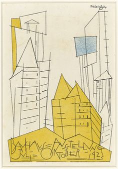 "Lyonel Feininger. Postcard for ""Bauhaus Exhibition July - October 1923"". 1923"
