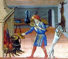 Cooking over the hearth. The carcass of a rabbit is hanging from a hook on the wall. Barthélémy l'Anglais, Le Livre des propriétés des choses, 15th century. Paris, Biblioteque nationale Département des manuscrits, Français 218, folio 373.