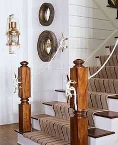 White rope creates a nautical accent to the stairs. The boat cleat details complete the look.