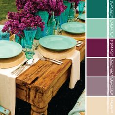 I like this for a nontraditional holiday color scheme {turquoise + plum} table setting