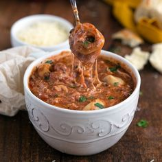 The MOST delicious soup - crockpot lasagna tortellini. Plus so easy to make!