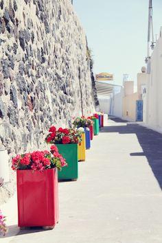 some serious colour-blocking, Santorini, Greece