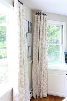 DIY Saturday   Stenciled Drop Cloth Curtains