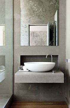 Location of faucet. Contemporary Bathroom by Monica Mauti via @Kimberly Peterson Peterson Peterson Peterson Peterson Peterson Gould Digest #designfile