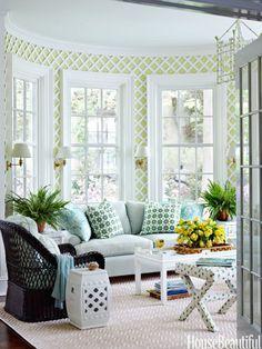 interior, houses, sunrooms, color, green, decorating ideas, trellis, garden, design