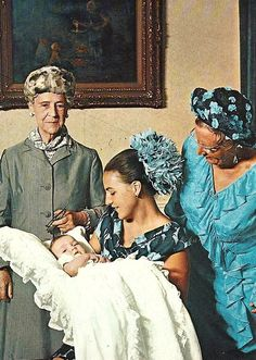 Princess Margriet with mother, Queen Juliana  of Netherlands, grandmother, Armgard zu Sierstorpff-Cramm and little prince Maurits