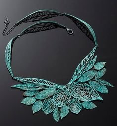 green blue necklace statment necklace Leaf