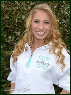 Initial and Name Monogrammed Hoodie Pullover Sweatshirt -1/4 Zippered Bridesmaids shirt hooded white aqua tiffany blue grey silver hot pink